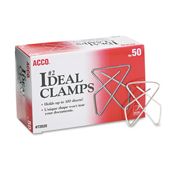 """ACCO® Ideal Clamps, Steel Wire, Small, 1-1/2"""", Silver, 50/Box"""