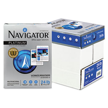 Navigator® Platinum Paper, 99 Brightness, 24lb, 8-1/2 x 11, White, 2500/Carton