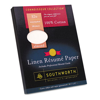 100% Cotton Linen Resume Paper, Almond,  32 lbs., 8-1/2 x 11, 100/Box