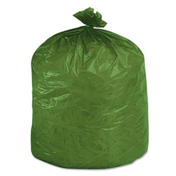Stout® Eco-Degradable Plastic Trash Garbage Bag, 33gal, 1.1mil, 33 x 40, Green, 40/Box