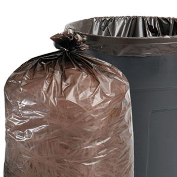 100% Recycled Plastic Garbage Bags, 65gal, 1.5mil, 50x51, Brown/Black, 100/CT