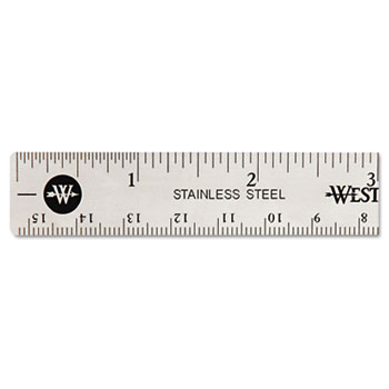 "Westcott® Stainless Steel Office Ruler With Non Slip Cork Base, 6"""