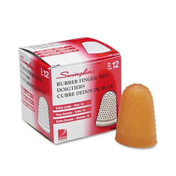 Rubber Finger Tips, Size 14, X-Large, Amber, 1/Dozen