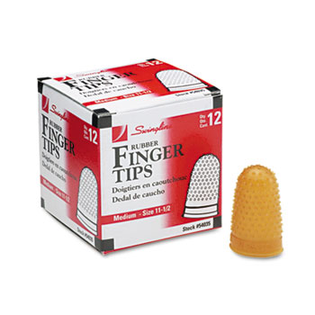 Rubber Finger Tips, Size 11 1/2, Medium, Amber, 1/Dozen