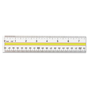 "Westcott® Acrylic Data Highlight Reading Ruler With Tinted Guide, 15"" Clear"