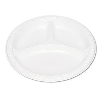 "Plastic Dinnerware, Compartment Plates, 9"" dia, White, 125/Pack"