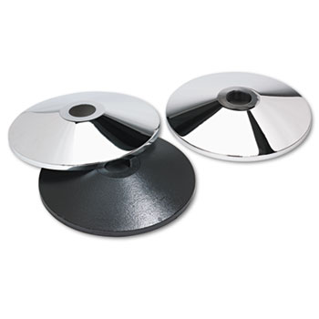 "Tatco Adjusta-Tape Crowd Control Stanchion Bases, Chrome, 14"" dia, Silver, 2/Box"