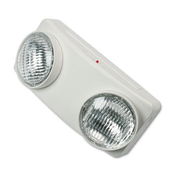 "Swivel Head Twin Beam Emergency Lighting Unit, Polycarbonate Case, 5-1/2"", White"