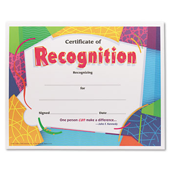 TREND® Certificate of Recognition Awards, 8-1/2 x 11, 30/Pack