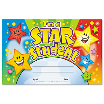 TREND® Recognition Awards, I'm a Star Student, 8 1/2w by 5 1/2h, 30/Pack