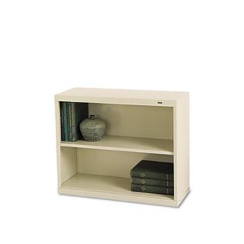 Tennsco Metal Bookcase, Two-Shelf, 34-1/2w x 13-1/2d x 28h, Putty