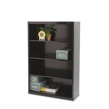 Tennsco Metal Bookcase, Four-Shelf, 34-1/2w x 13-1/2d x 52-1/2h, Black