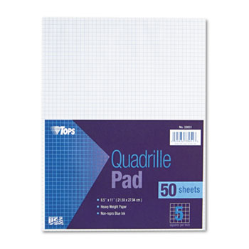 TOPS™ Quadrille Pads, 5 Squares/Inch, 8 1/2 x 11, White, 50 Sheets
