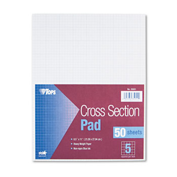 TOPS™ Cross Section Pads, 5 Squares, 8 1/2 x 11, White, 50 Sheets