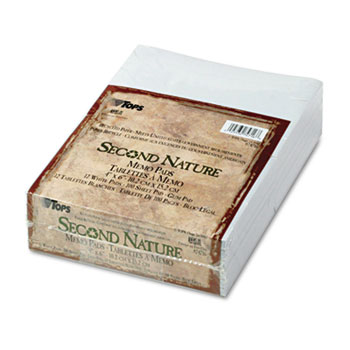 Second Nature Recycled Scratch Pad, Unruled, 4 x 6, 12 100-Sheet Pads/Pack