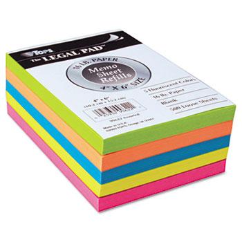 Fluorescent Color Memo Sheets, 20 lb, 4 x 6, Assorted, 500 Sheets/Pack
