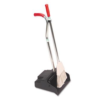 Unger® Ergo Dustpan With Broom, 12 Wide, Metal w/Vinyl Coated Handle, Black/Silver