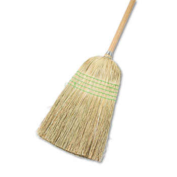 "Boardwalk® Parlor Broom, Yucca/Corn Fiber Bristles, 56"", Wood Handle, Natural, 12/Carton"