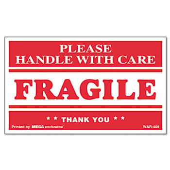 Universal® Printed Message Self-Adhesive Shipping Labels, FRAGILE Handle with Care, 3 x 5, Red/Clear, 500/Roll