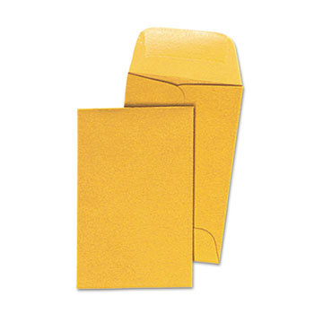 Kraft Coin Envelope, #1, Round Flap, Gummed Closure, 2.25 x 3.5, Light Brown Kraft, 500/Box