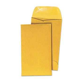 Universal® Kraft Coin Envelope, #5 1/2, Round Flap, Gummed Closure, 3.13 x 5.5, Light Brown Kraft, 500/Box