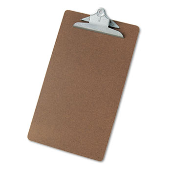 "Universal® Hardboard Clipboard, 1"" Capacity, Holds 8 1/2 x 14, Brown"