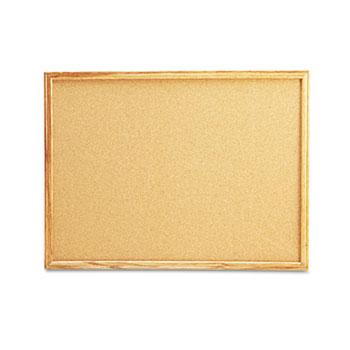 Universal® Cork Board with Oak Style Frame, 24 x 18, Natural, Oak-Finished Frame