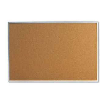 Universal® Bulletin Board, Natural Cork, 36 x 24, Satin-Finished Aluminum Frame