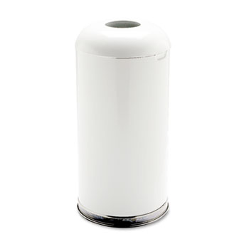 Rubbermaid® Commercial Fire-Resistant Open Top Receptacle, Round, Steel, 15gal, White
