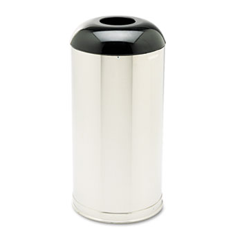 Rubbermaid® Commercial European & Metallic Drop-In Dome Top Receptacle, Round, 15gal, Satin Stainless