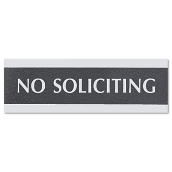 Headline® Sign Century Series Office Sign, NO SOLICITING, 9 x 3, Black/Silver