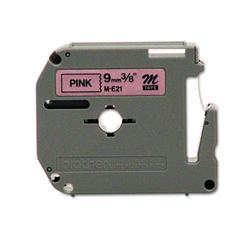 M Series Tape Cartridge for P-Touch Labelers, 3/8w, Black on Pink