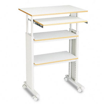 Safco® Adjustable Height Stand-Up Workstation, 29w x 19-3/4d x 49h, Gray PVC Top
