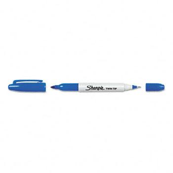 Sharpie® Twin-Tip Permanent Marker, Fine/Ultra Fine Point, Blue