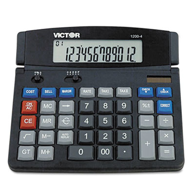 "12-Digit Calculator Desktop,Dual Power,7-1/4""x7""x1/2"",BK - 1 EA"
