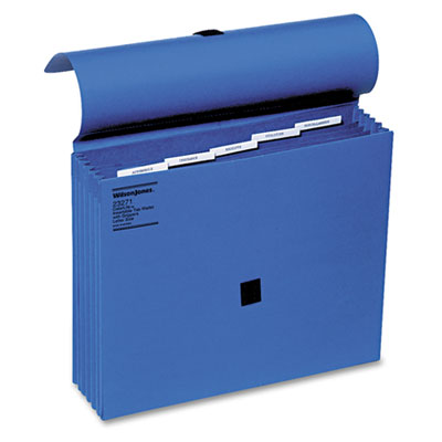 ColorLife� Expanding File w/Insertable Tabs, Velcro Flap, Dark Blue
