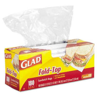 Fold-Top Sandwich Bags, 6 1/2 x 5 1/2, Clear, 180/Box - CLO60771-ESA
