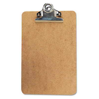 "Hardboard Clipboard, 1"" Capacity, Holds 5w x 8h, Brown - UNV05610-ESA"
