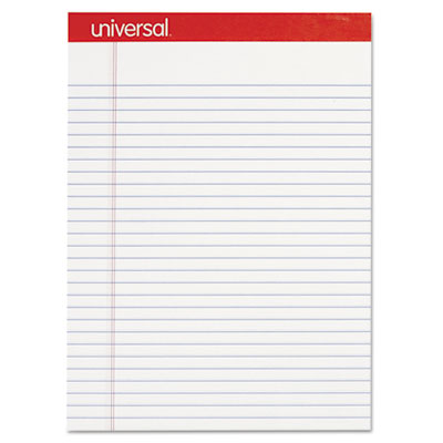 Perforated Edge Writing Pad, Legal Ruled, Letter, White, 50-Sheet, Dozen - UNV20630-ESA