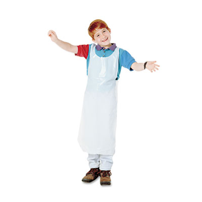 Disposable Apron, Polypropylene, White, 100/Pack - BAU64620-ESA
