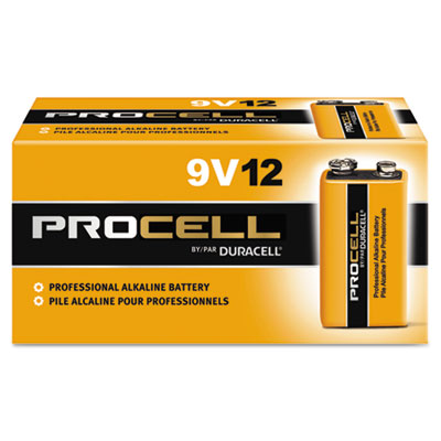 Procell Alkaline Batteries, 9V, 12/Box - DURPC1604BKD-ESA