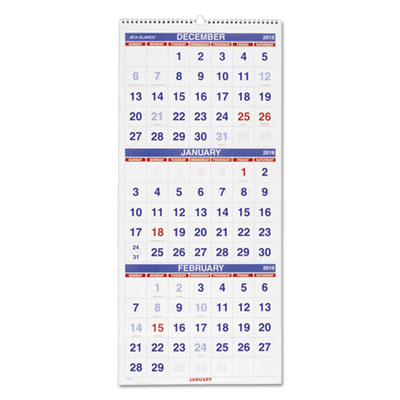 Vertical-Format Three-Month Reference Wall Calendar, 12 1/4 x 27, 2016-2018 - AAGPM1128-ESA