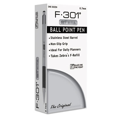 Retractable Ballpoint Pen,0.7 mm,Black/Stainless Barrel - 1 EA