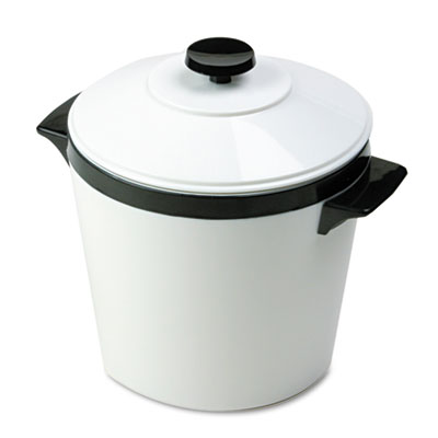 Ice Bucket, Three-Quart w/Lid, Insulated Shatterproof Liner, White w/Black Trim