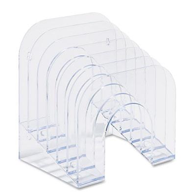 Six-Tier Jumbo Incline Sorter, Plastic, 9 3/8 x 10 1/2 x 7 3/8, Clear - RUB96600ROS-ESA