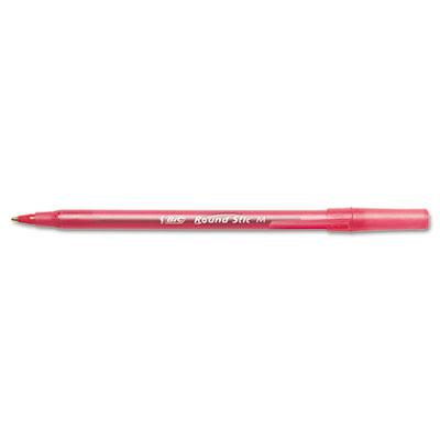 Round Stic Ballpoint Pen, Red Ink, Medium, 1.0 mm