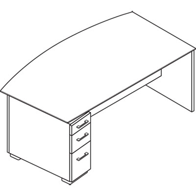 Announce Left Pedestal Desk Glass Modesty Panel 72w X 36d Shaker Cherry