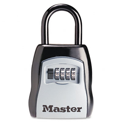 Locking Combination 5-Key Steel Box, 3 1/2w x 1 5/8d x 4h, Black/Silver - MLK5400D