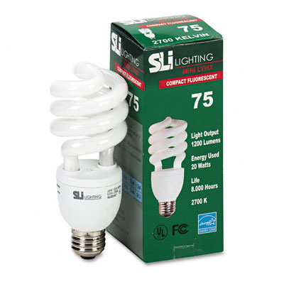 Mini-Lynx Spiral, Soft White Energy Saver Compact Fluorescent Bulb, 20 Watts - SLT26158