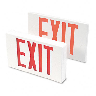LED Exit Sign, Polycarbonate, 12-1/4 x 2-1/2 x 8-3/4, White - TCO07230